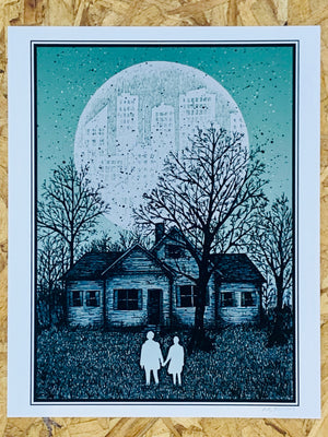 Couple and House 8x10in Giclee Print by Kris Johnsen