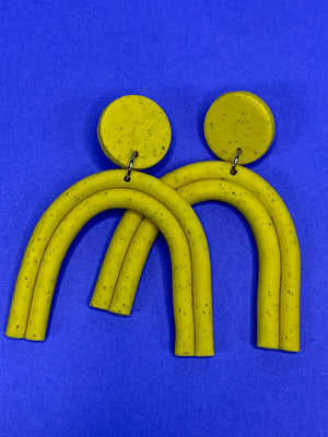 Lux Tube Arches Earrings Mustard