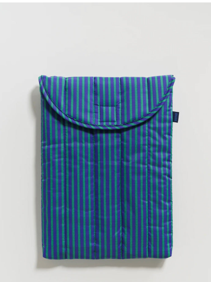 Cobalt and Jade Stripe Puffy Laptop Sleeve
