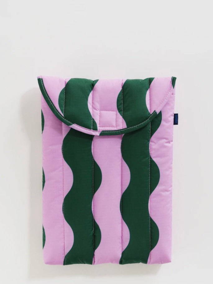 Pink and Green Wavy Stripe Puffy Laptop Sleeve