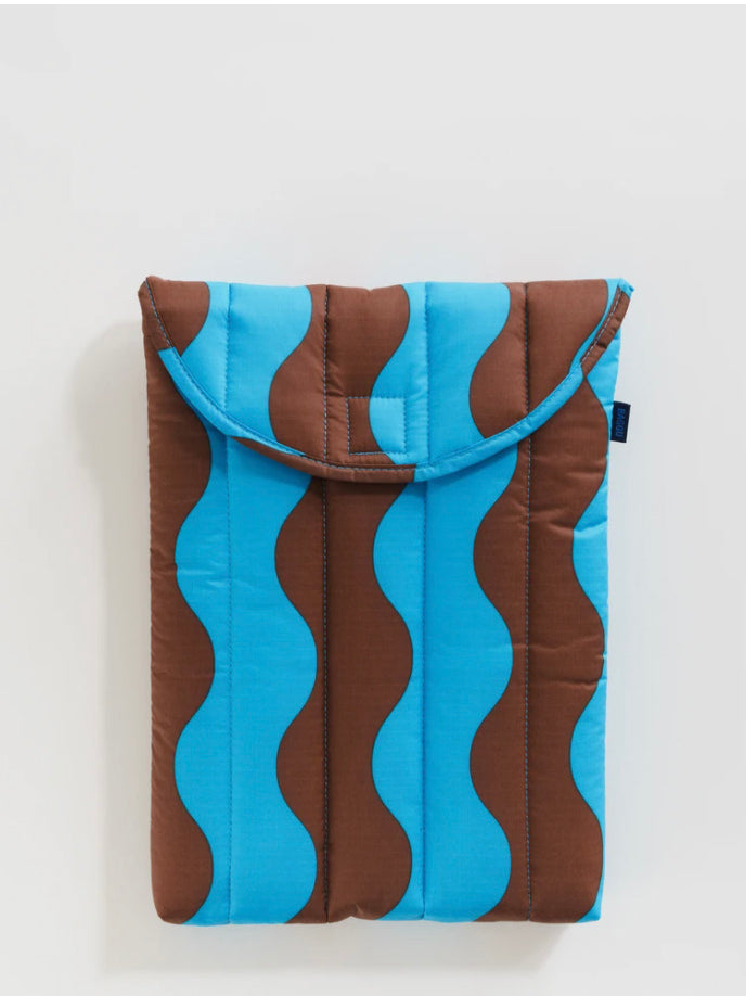 Teal and Brown Wavy Stripe Puffy Laptop Sleeve
