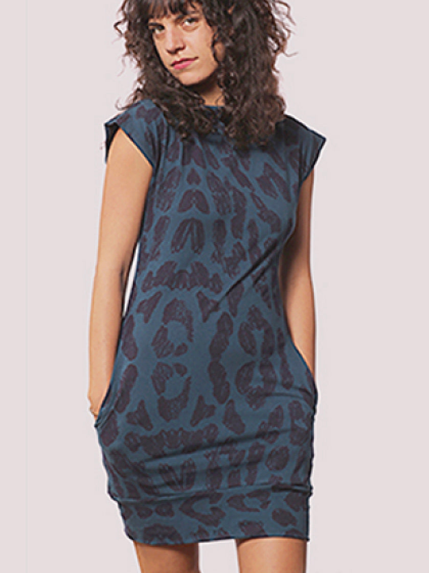 Mod Dress Blue Leopard