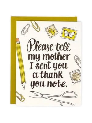 Tell My Mother Thank You Card