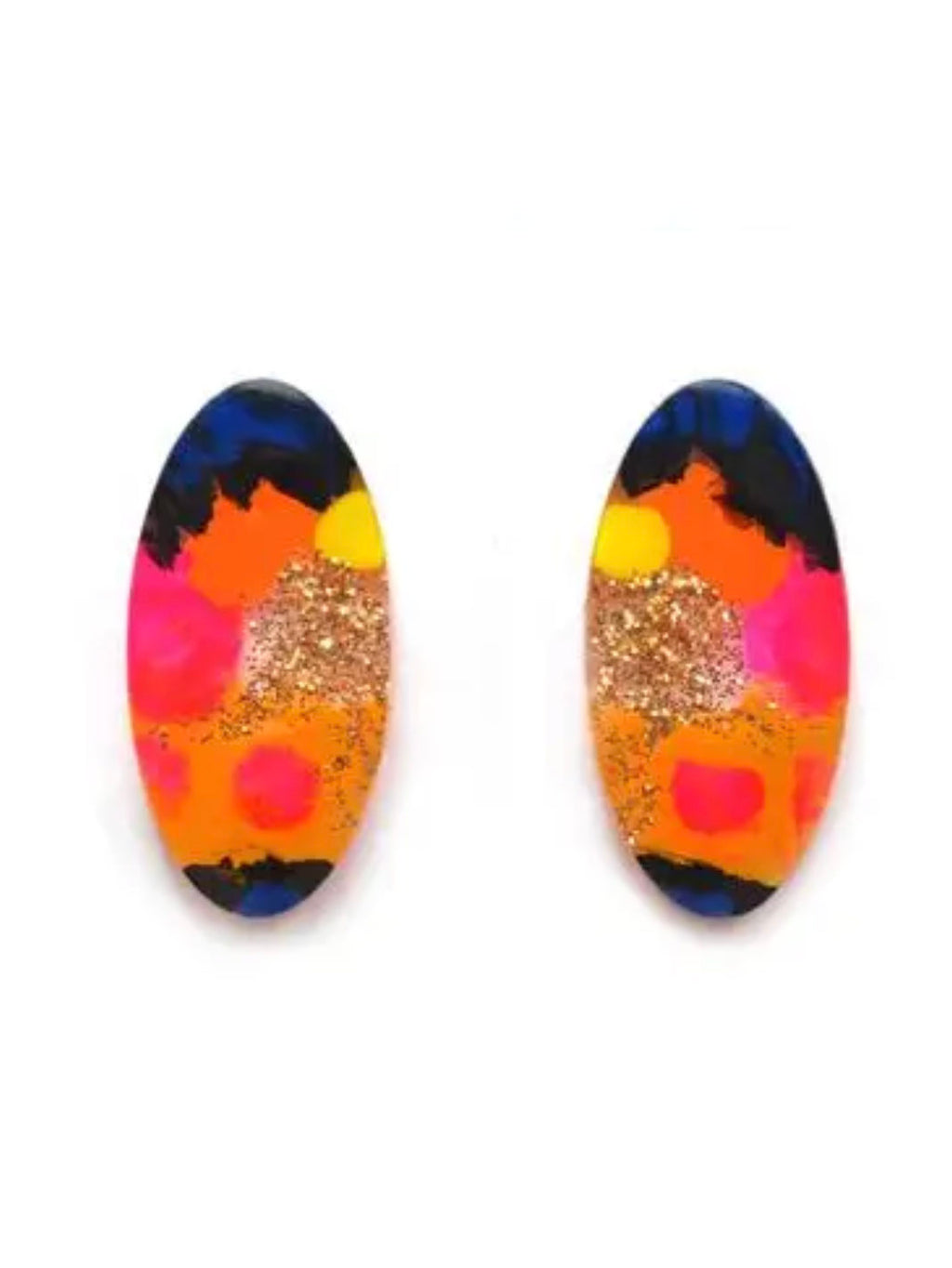 Orange and Pink Oval Stud Earrings