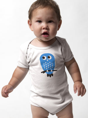 Organic Blue Owl Baby One Piece