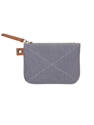 Railroad Stripe Large Zipper Pouch