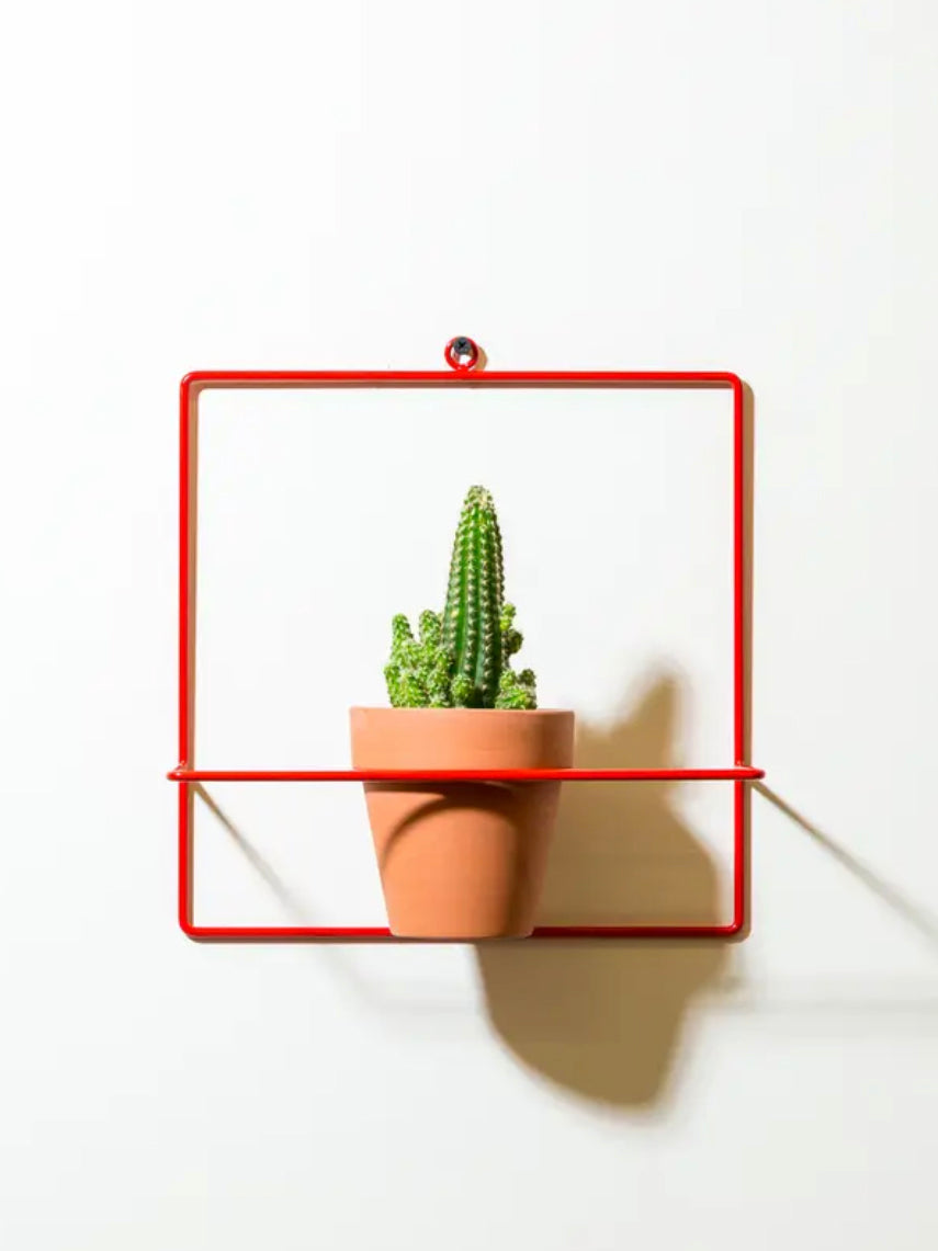 Square Wall Planter Red