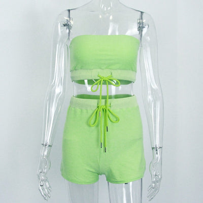 Strapless Crop Top and Shorts 2 Piece Set - DealZen
