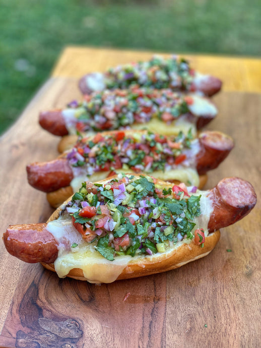 Kielbasa's On Toasted Bread Rolls Topped With Gouda Cheese  & Pico De Gallo Recipe