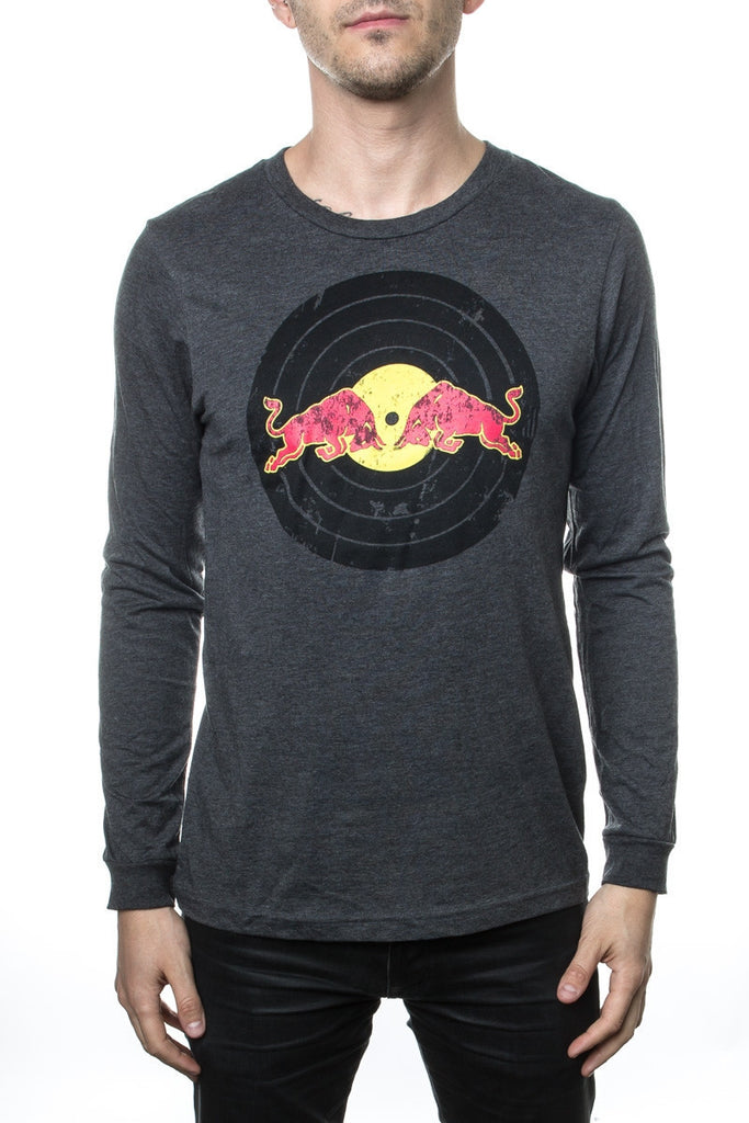Red Bull Records Distressed Traditional Logo L/S  T-Shirt Grey