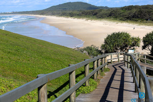 Looking south from the boardwalk at the top of Norries Head at Cabarita