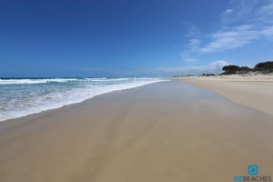 A sunny day on an empty beach at South Stradbroke Island in QLD