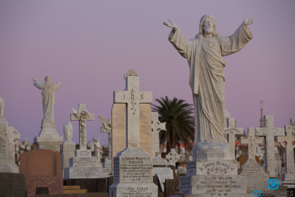 Waverley Cemetery tombstone at sunrise