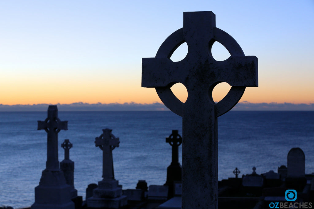 Beautiful tombstone at Waverley Cemetery at sunrise