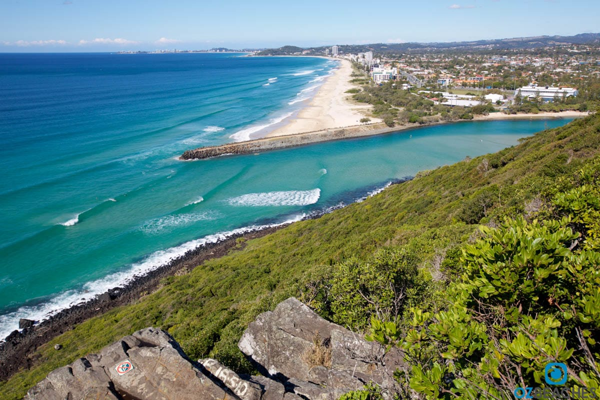 Aerial view of Palm Beach from Burleigh Heads lookout QLD