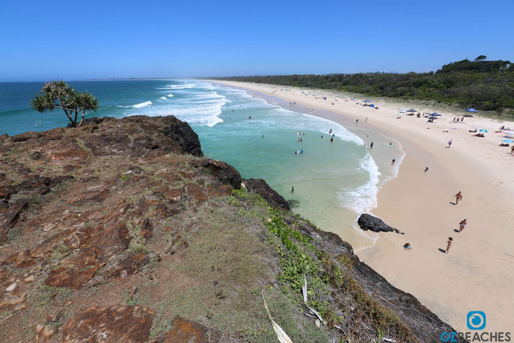 Looking south along Dreamtime Beach at Fingal Head in NSW