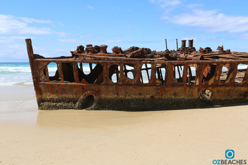 Side view of the wreck of the SS Maheno on Fraser Island