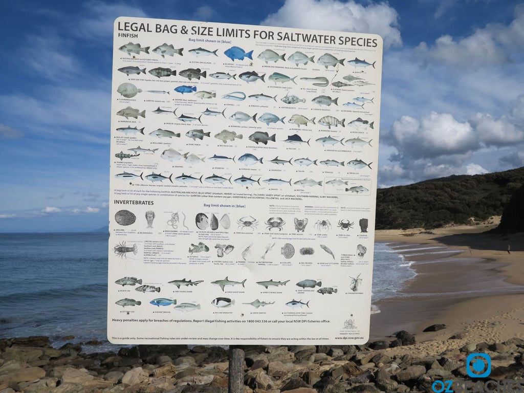 Fishing bag limit sign Garie Beach