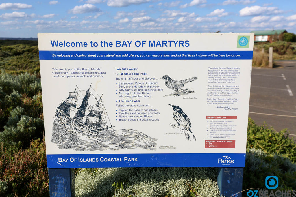 Bay of Martyrs sign at the Great Ocean Road Victoria