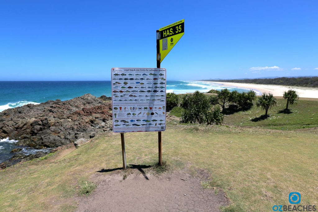 Fish species and bag limit sign at Hastings Point NSW