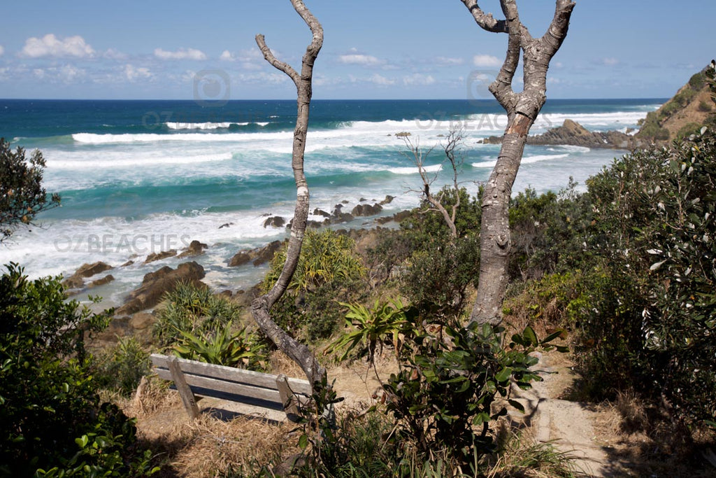 Scenic place for a seat by the sea - Kings Beach at Broken Head in NSW
