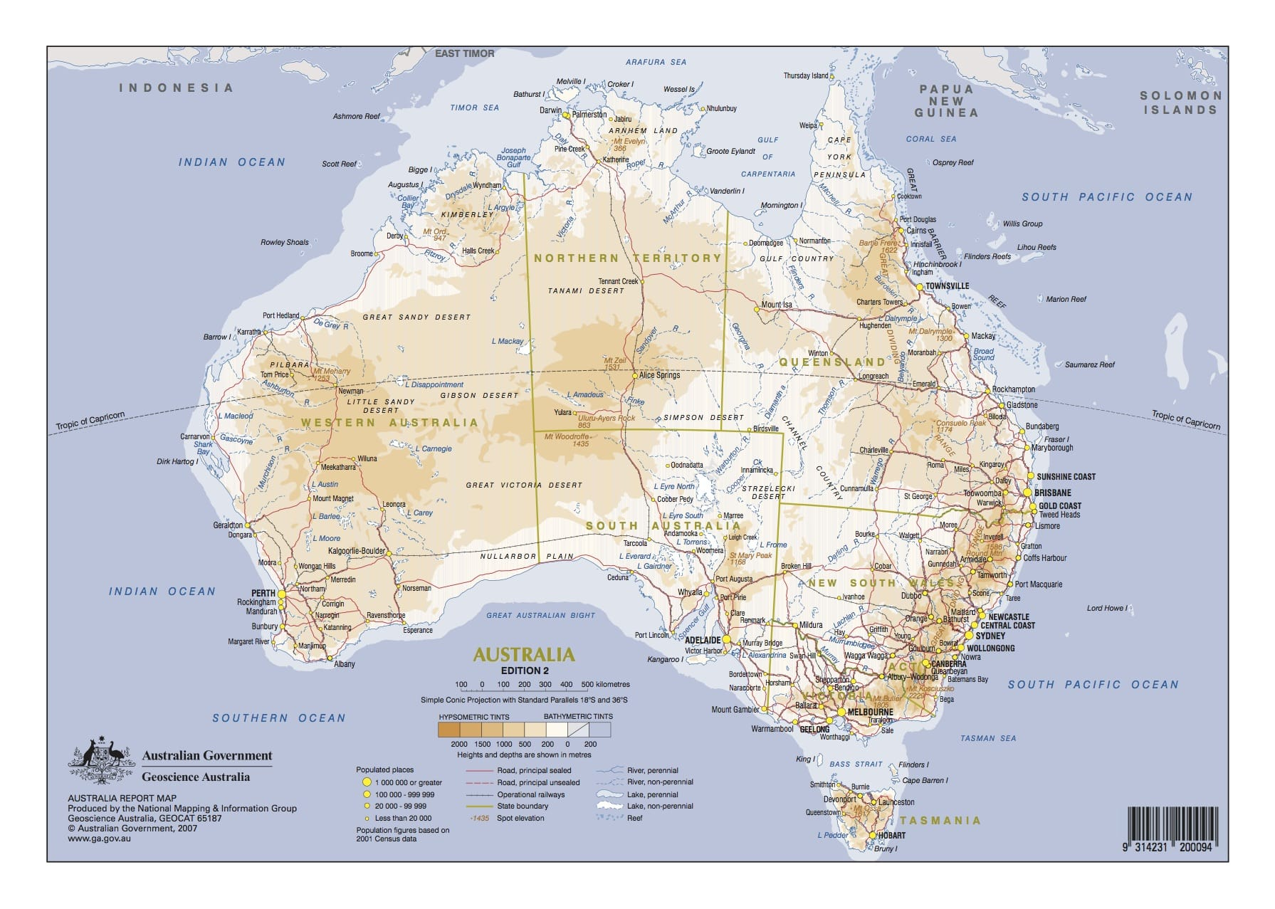 Coastline map of Australia
