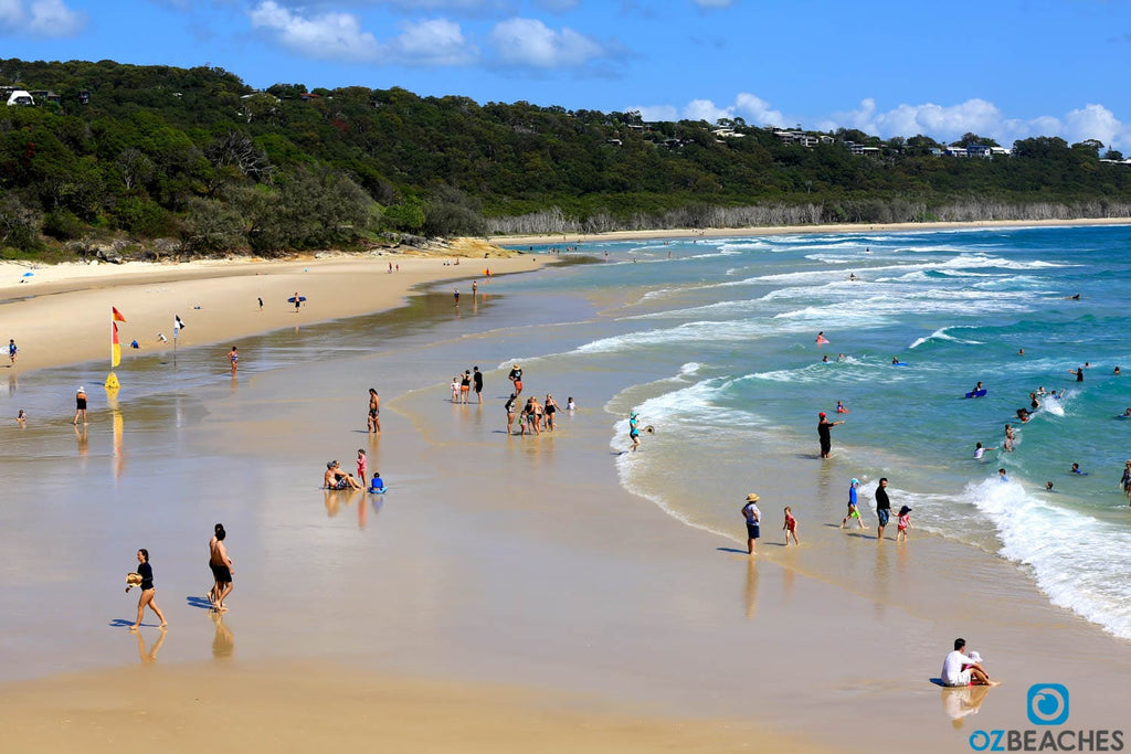 Cylinder Beach on North Stradbroke Island is very popular with families