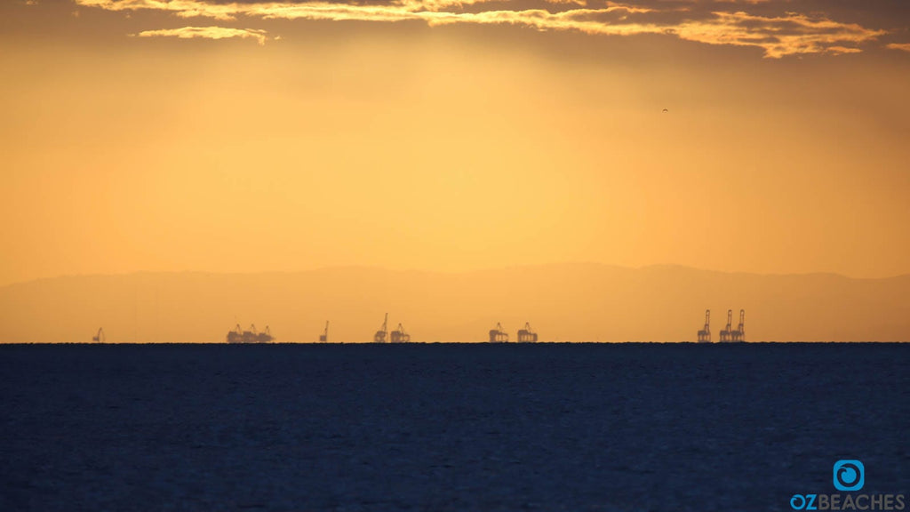 Not sure if these are oil rigs or cranes at the Port of Brisbane