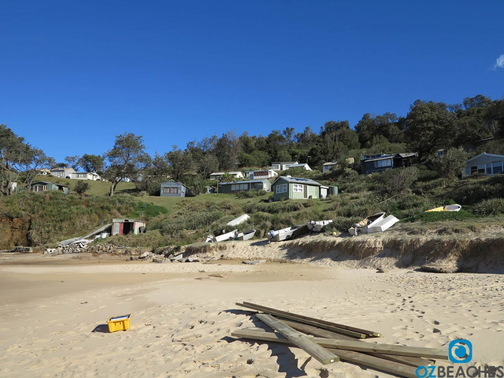 Heritage listed shacks at South Era beach