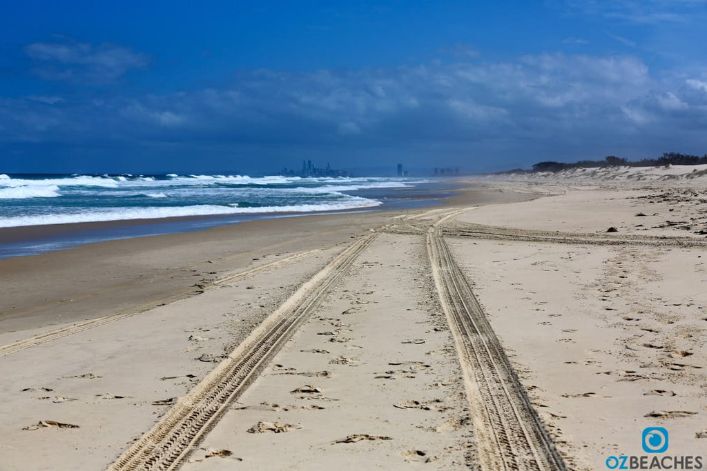 4wd tracks in the sand on South Stradbroke Island