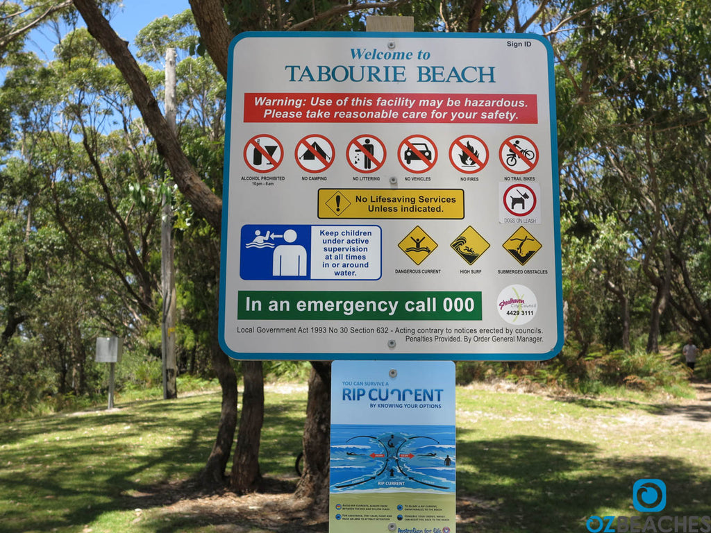 Sign at Tabourie Beach NSW