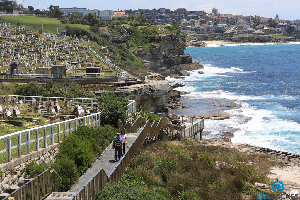 The boardwalk at Waverley Cemetery with Tamarama Beach in the distance