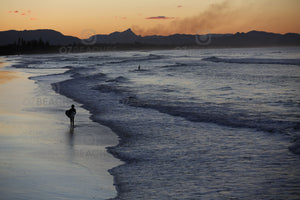 Photograph of a surfer at sunset - Belongil Beach, Byron Bay NSW