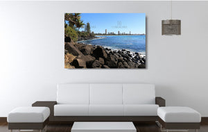 An acrylic print of a sunny day at Burleigh Heads on the Gold Coast in QLD hanging in a lounge room setting