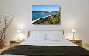 An acrylic print of Tallebudgera Creek on the Gold Coast of QLD hanging in a bed room setting