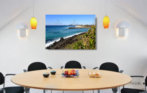 An acrylic print of Tallebudgera Creek on the Gold Coast of QLD hanging in a dining room setting