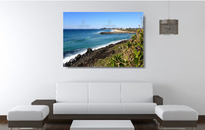 An acrylic print of Tallebudgera Creek on the Gold Coast of QLD hanging in a lounge room setting