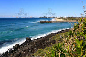 A photograph of Tallebudgera Creek taken from Burleigh Head National Park on the Gold Coast of QLD.