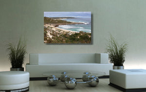 An acrylic print of Gas Bay in WA hanging in a lounge room setting