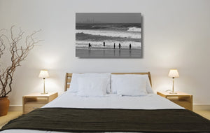 An acrylic print of Kirra Beach on the Gold Coast, QLD hanging in a bedroom setting