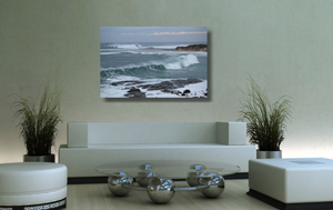 An acrylic print of the rivermouth at Margaret River in WA hanging in a green lounge room setting