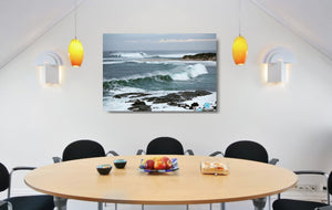 An acrylic print of the rivermouth at Margaret River in WA hanging in a dining room setting