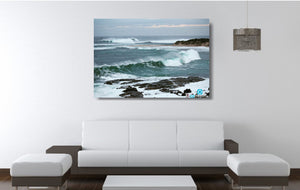 An acrylic print of the rivermouth at Margaret River in WA hanging in a lounge room setting