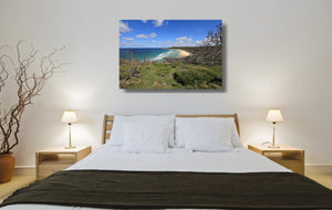 An acrylic print of Alexandria Bay at Noosa QLD hanging in a bed room setting