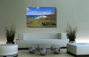 An acrylic print of Alexandria Bay at Noosa QLD hanging in a lounge room setting