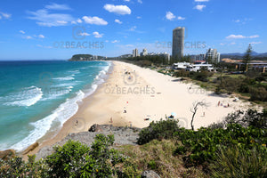 A photograph of Burleigh Beach QLD from the lookout at the northern end.