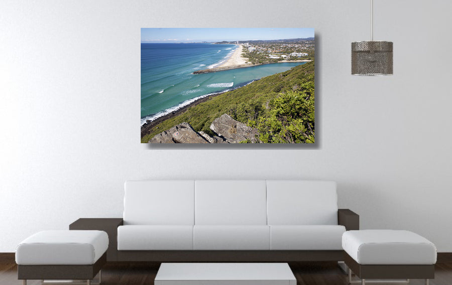 Photograph of Palm Beach from the lookout at Burleigh Head National Park, QLD