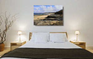Acrylic print of Racecourse Beach in Ulladulla hanging in a bed room setting.