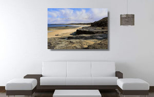 Acrylic print of Racecourse Beach in Ulladulla hanging in a lounge room setting.