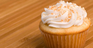 An image of a cupcake with crumb topping.